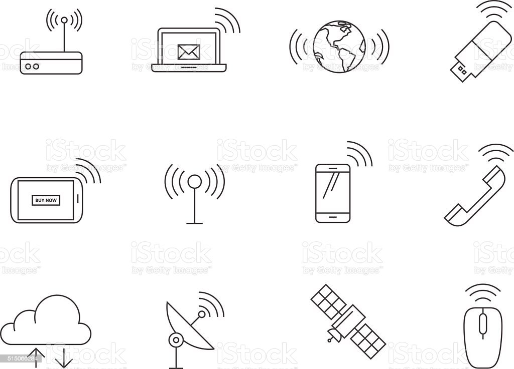 Outline Icons - Wireless vector art illustration
