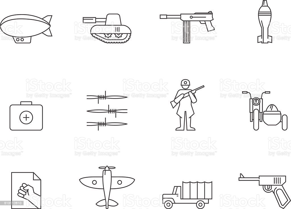 Outline Icons - World War vector art illustration