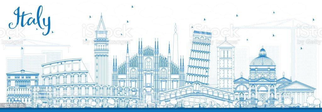 Outline Italy Skyline with Blue Landmarks. vector art illustration