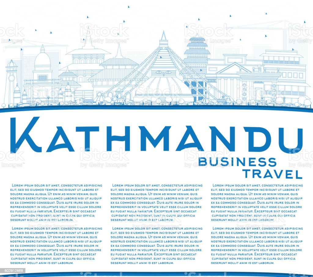 Outline Kathmandu Skyline with Blue Buildings and Copy Space. vector art illustration
