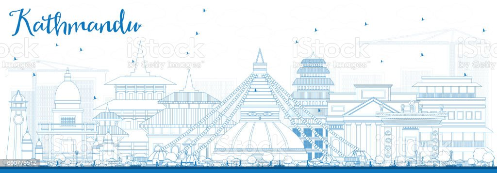 Outline Kathmandu Skyline with Blue Buildings. vector art illustration