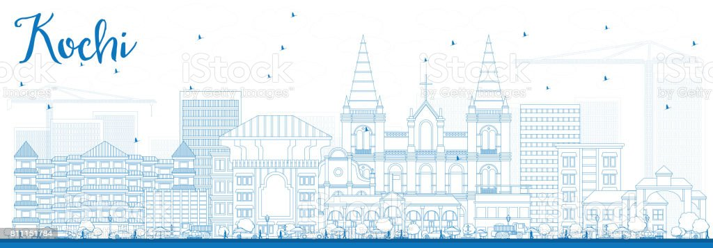 Outline Kochi Skyline with Blue Buildings. vector art illustration