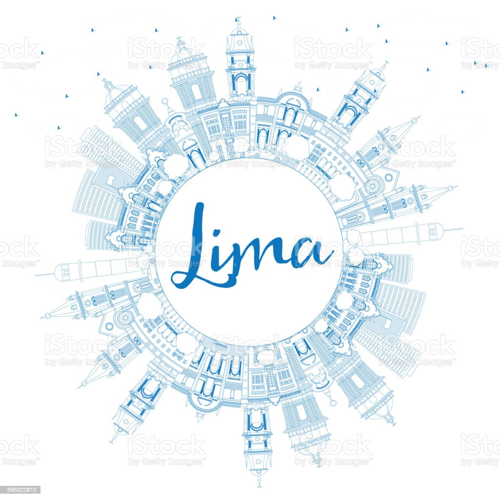 Outline Lima Skyline with Blue Buildings and Copy Space. vector art illustration