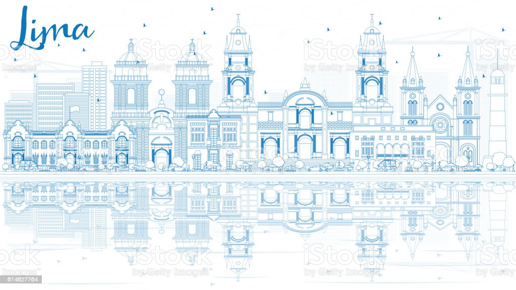 Outline Lima Skyline with Blue Buildings and Reflections. vector art illustration