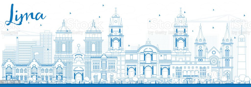 Outline Lima Skyline with Blue Buildings. vector art illustration