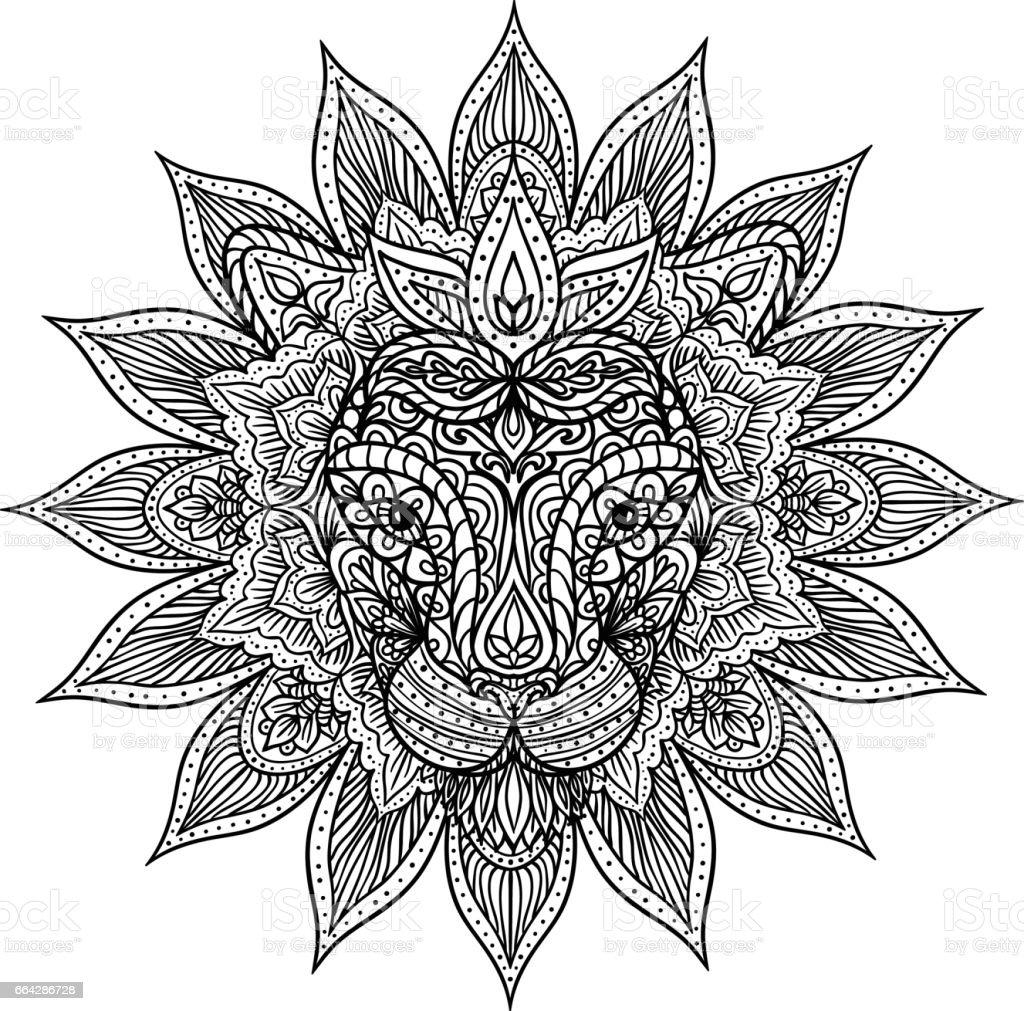 Outline Lion Mandala Stock Vector Art 664286728