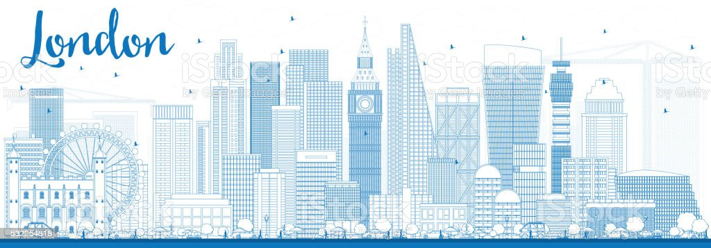 Outline London Skyline with Blue Buildings. vector art illustration