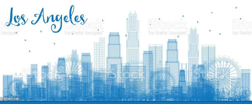 Outline Los Angeles Skyline with Blue Buildings. vector art illustration