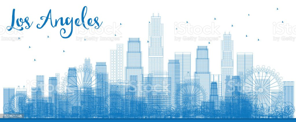 Outline Los Angeles Skyline with Blue Buildings. vector art illustration