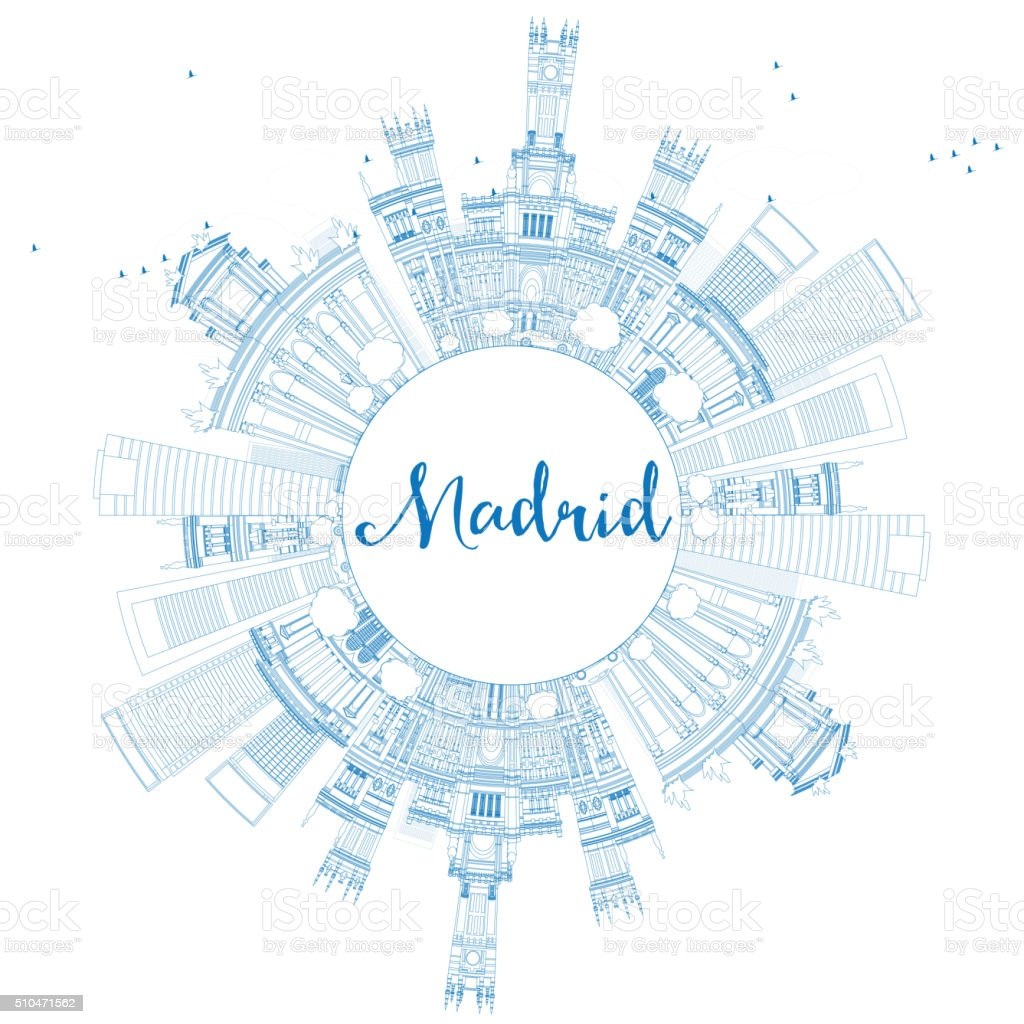 Outline Madrid Skyline with Blue Buildings and Copy Space. vector art illustration