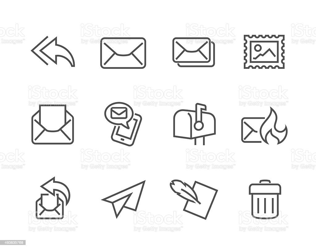 Outline Mail Icons vector art illustration