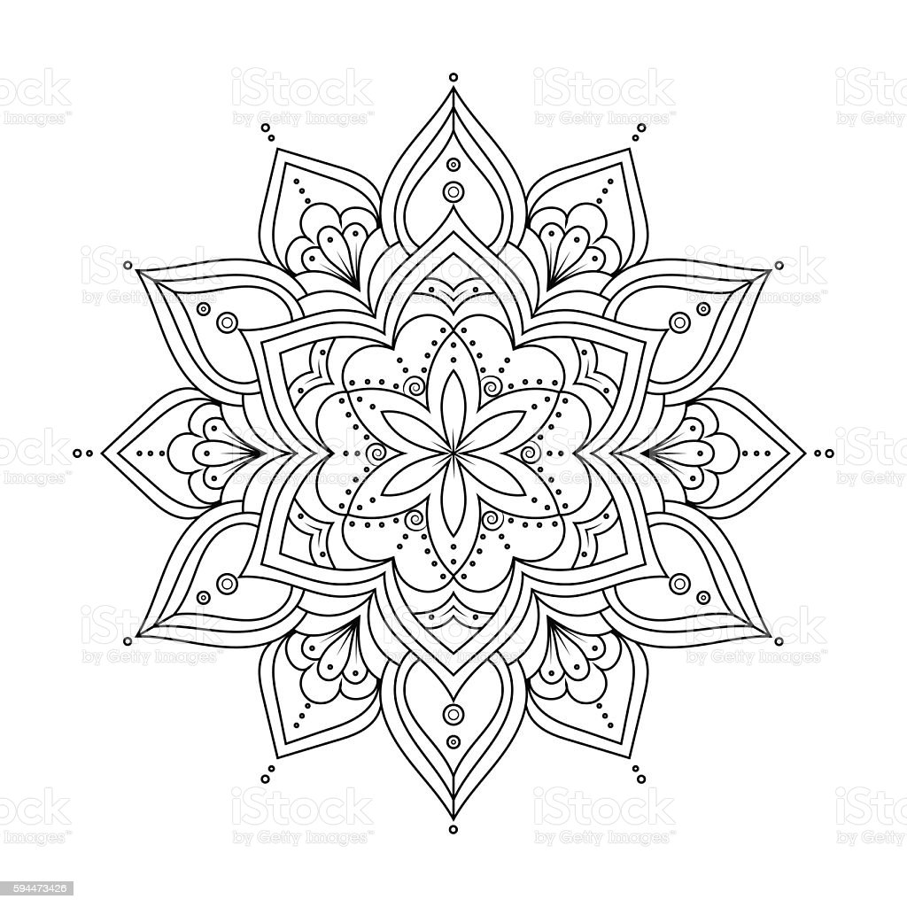 Outline Mandala For Coloring Book Ethnic Round Elements