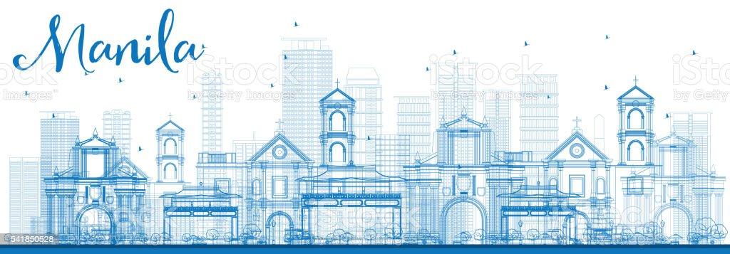 Outline Manila Skyline with Blue Buildings. vector art illustration