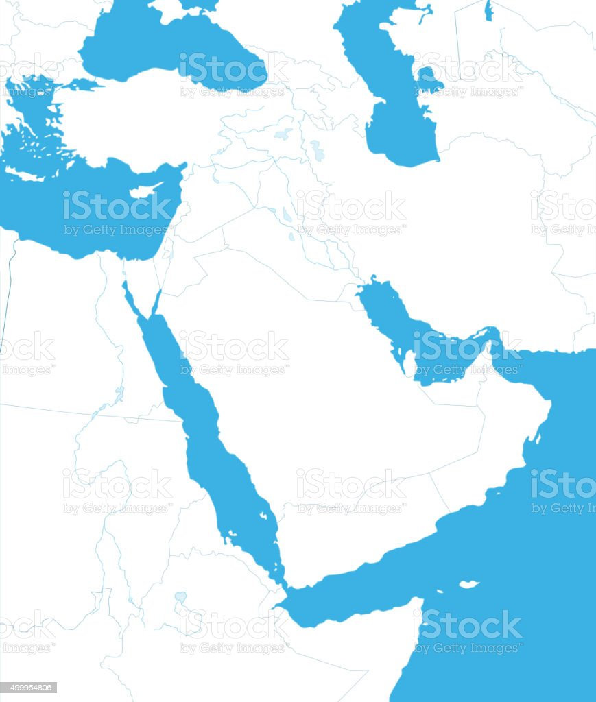 Outline Map of Middle East And Asia vector art illustration