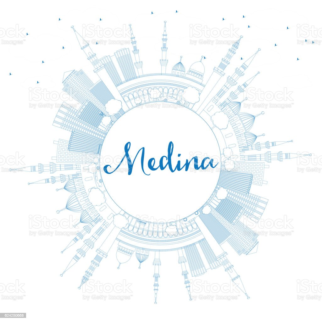Outline Medina Skyline with Blue Buildings and Copy Space. vector art illustration