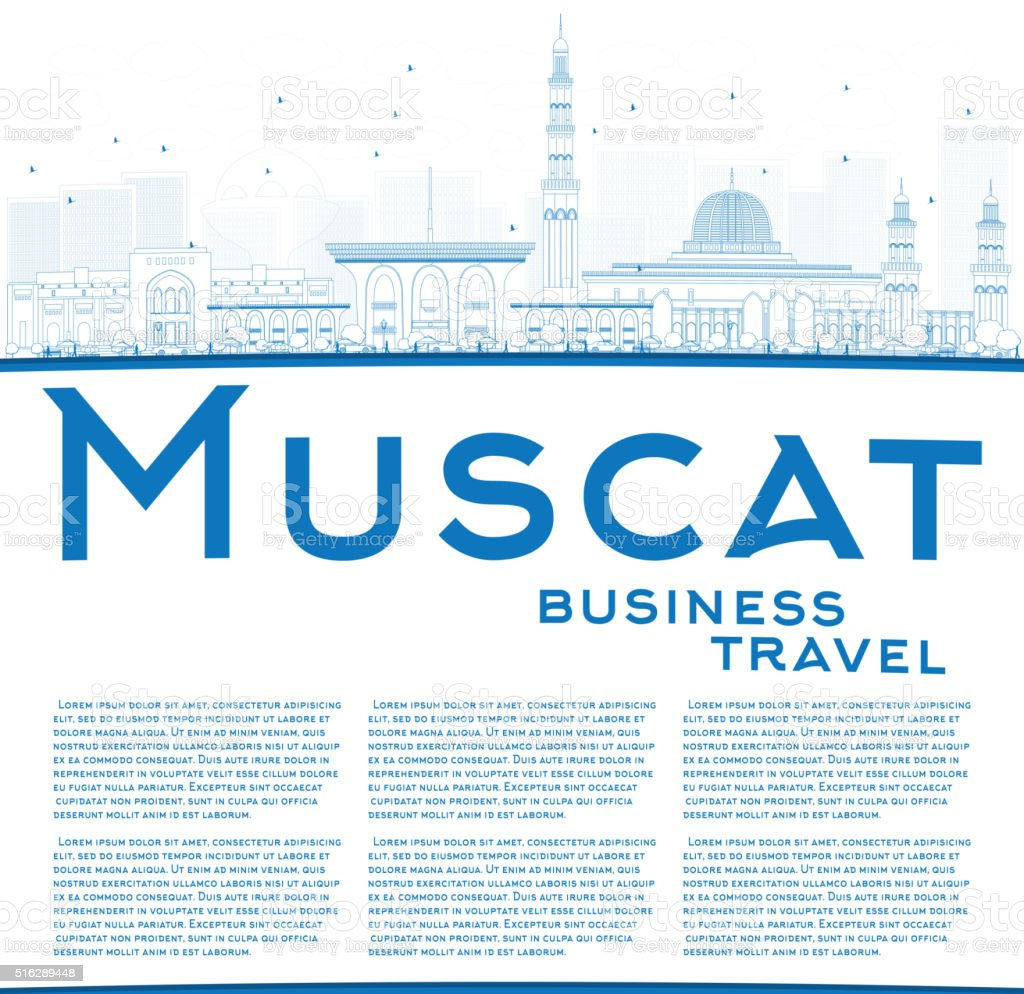 Outline Muscat Skyline with Blue Buildings. vector art illustration