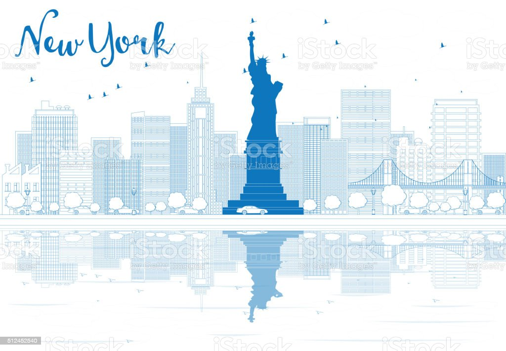 Outline New York city skyline with blue buildings. vector art illustration