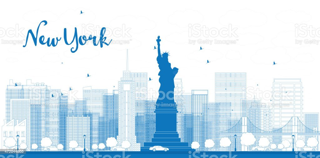 Outline New York city skyline with skyscrapers vector art illustration