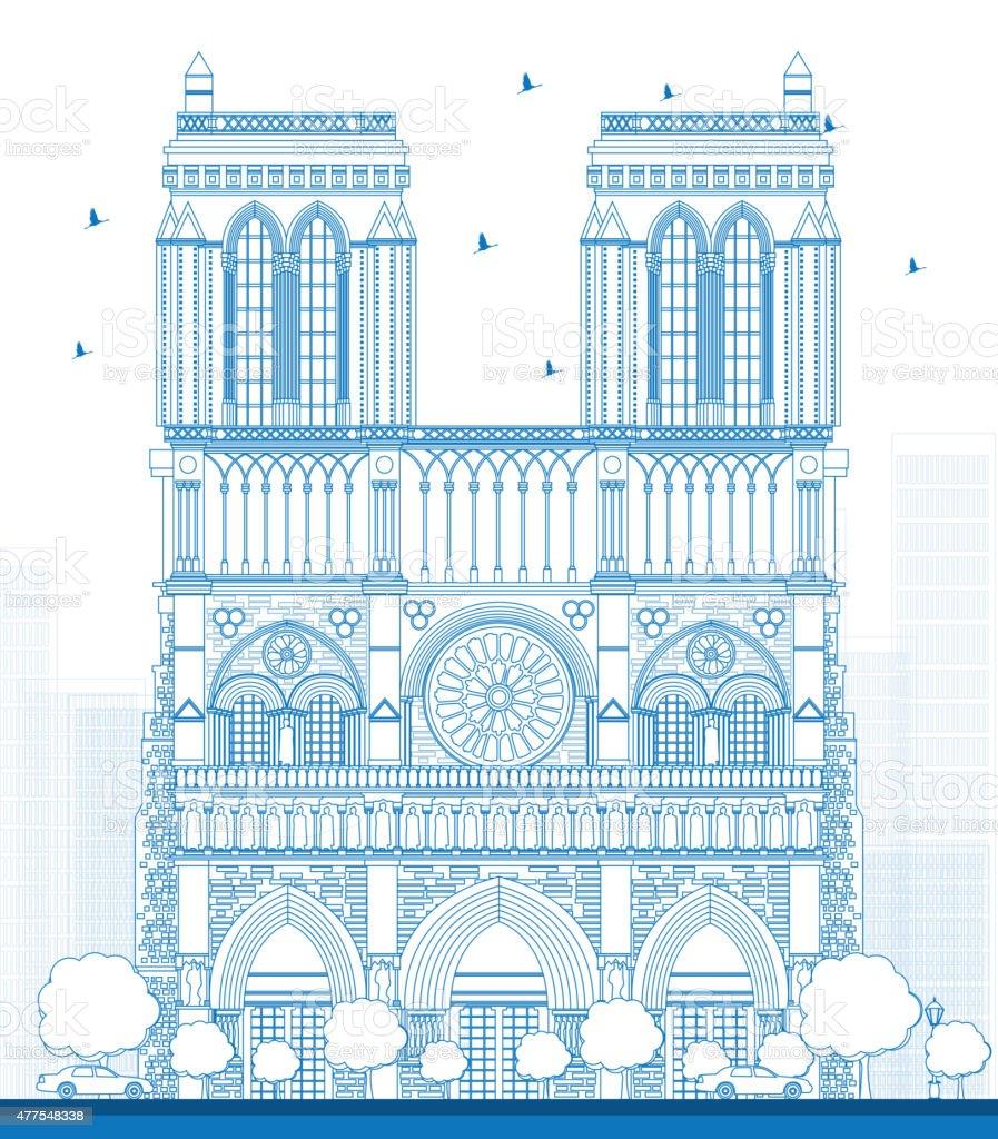 Outline Notre Dame Cathedral - Paris vector art illustration