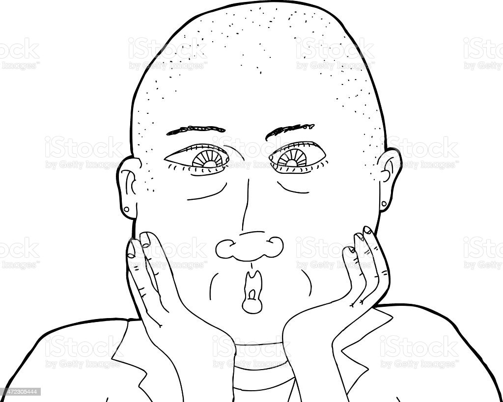 Outline of Bald Surprised Woman vector art illustration