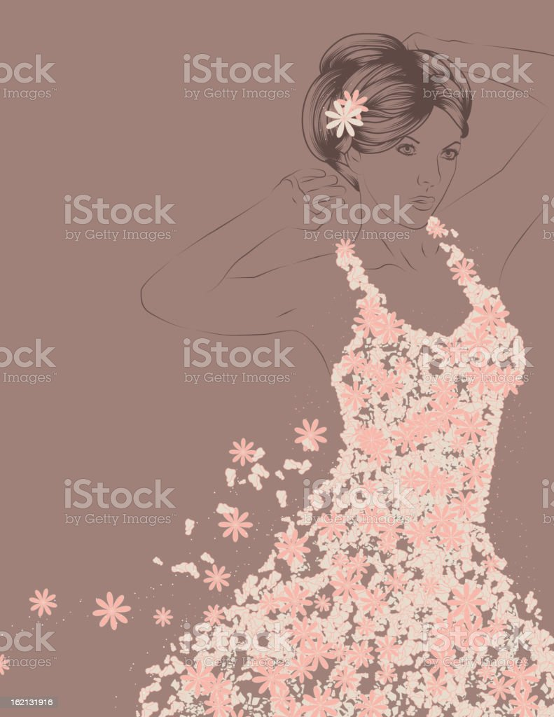 Outline of beautiful woman with detailed flowery wedding dress vector art illustration