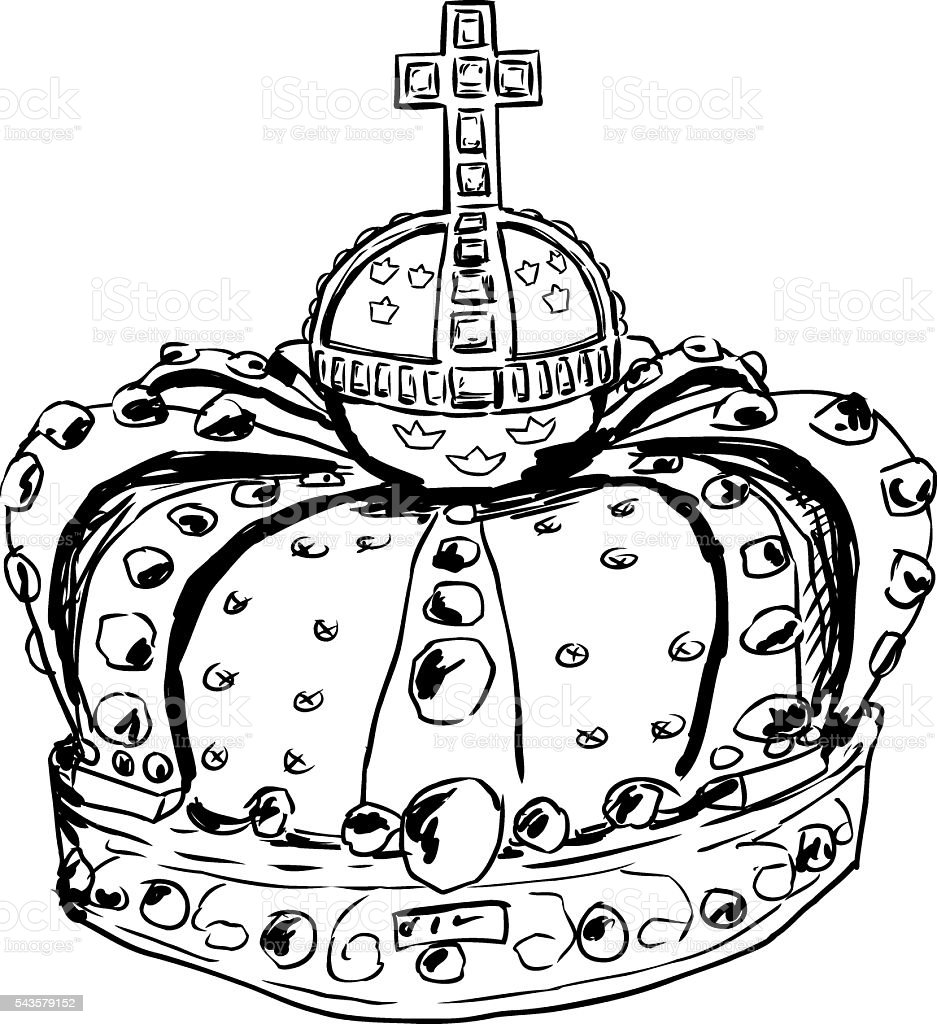 Outline of crown Queen Lovisa Ulrika vector art illustration