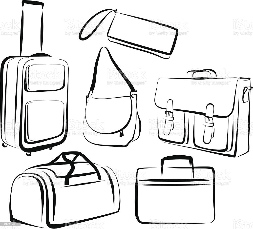 Outline of drawing of set of bags in black and white vector art illustration