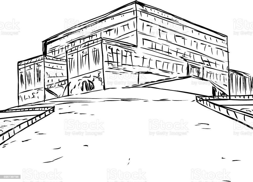 Outline of National Palace at Stockholm vector art illustration