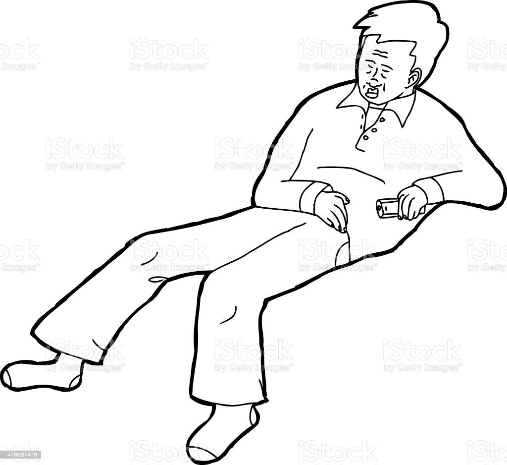 Outline of Sleeping Adult with Remote Control vector art illustration