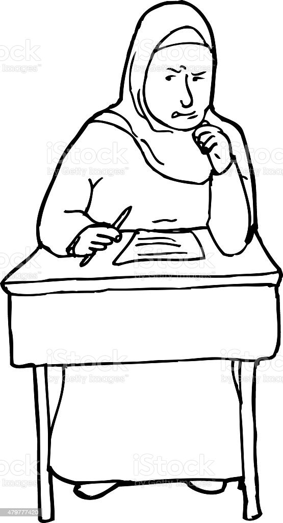 Outline of Struggling Student at Desk vector art illustration