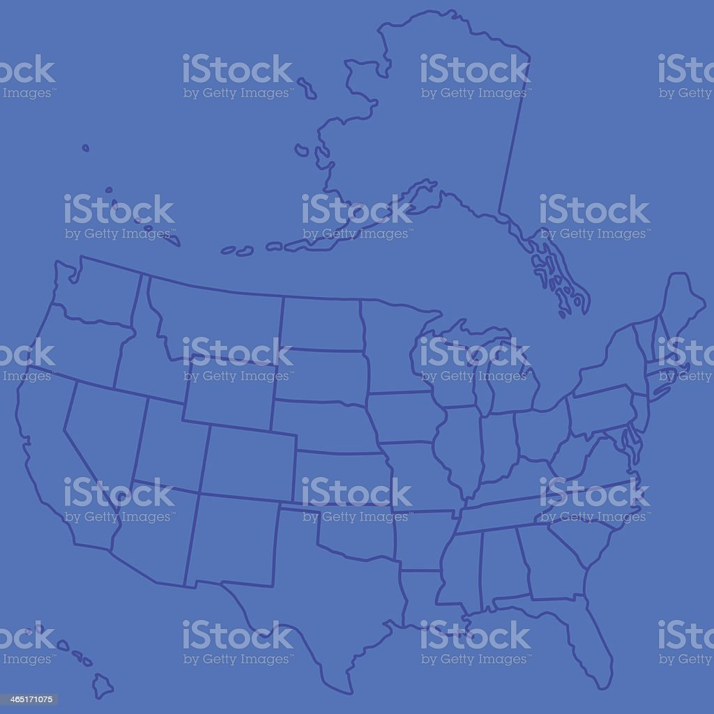 Outline of the US and its 50 states on a blue background royalty-free stock vector art