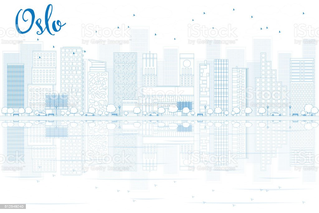 Outline Oslo Skyline with Blue Buildings and reflections. vector art illustration