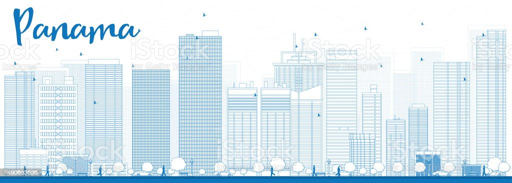 Outline Panama City skyline with blue skyscrapers vector art illustration