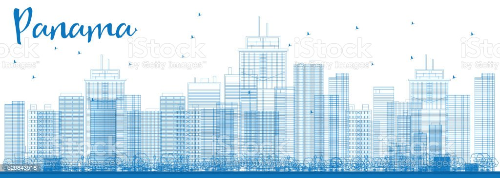 Outline Panama City skyline with blue skyscrapers. vector art illustration