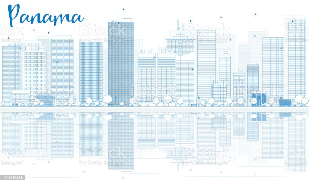 Outline Panama skyline with blue buildings and reflections. vector art illustration