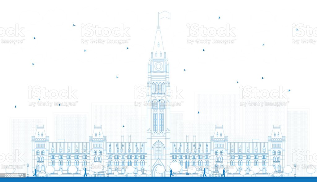 Outline Parliament Building in Ottawa, Canada. vector art illustration