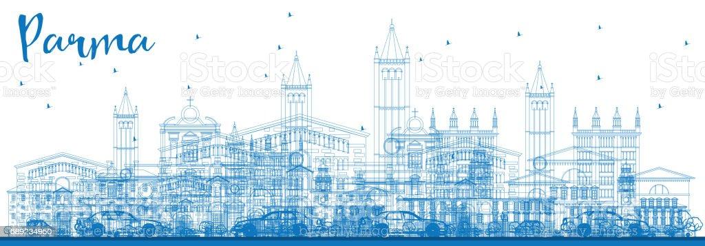 Outline Parma Skyline with Blue Buildings. vector art illustration