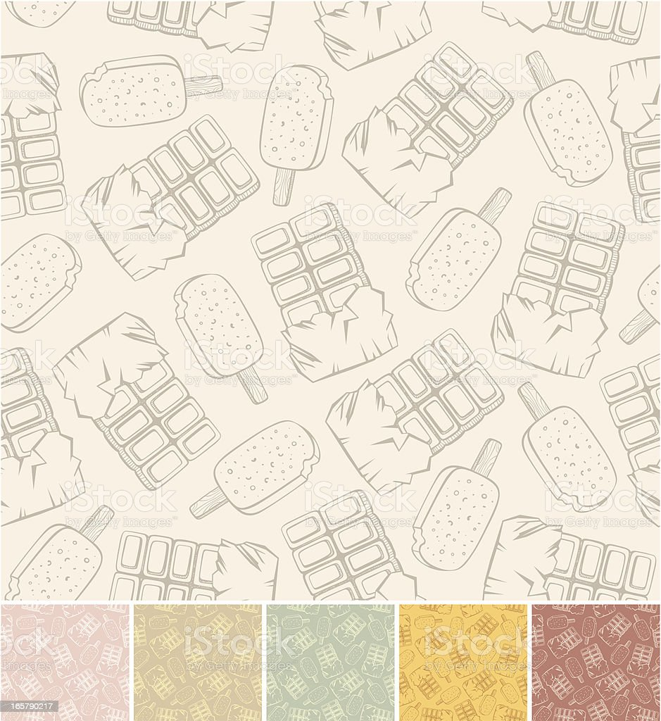 Outline pattern of chocolate and ice-cream royalty-free stock vector art