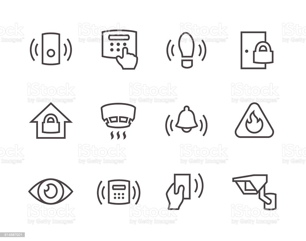 Outline Perimeter security icons vector art illustration