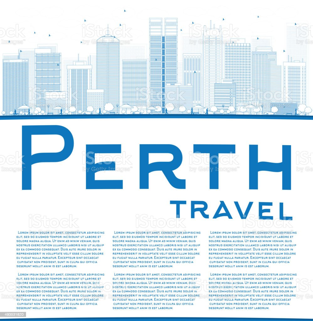 Outline Perth skyline with blue buildings and copy space vector art illustration