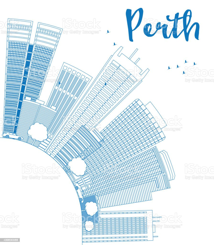 Outline Perth skyline with blue buildings and copy space. vector art illustration