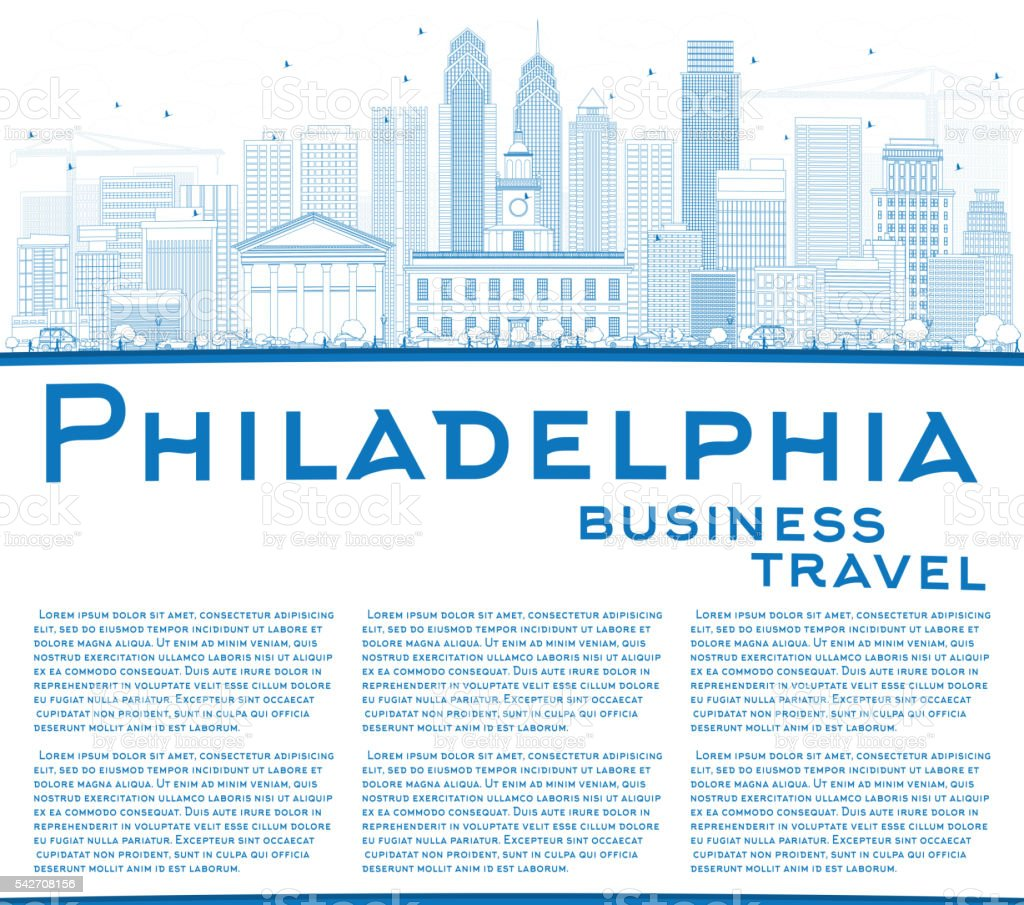 Outline Philadelphia Skyline with Blue Buildings and Copy Space. vector art illustration