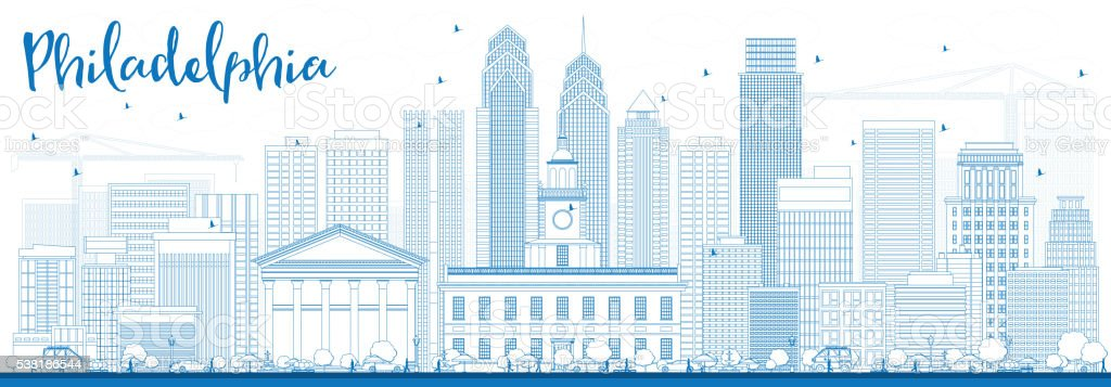 Outline Philadelphia Skyline with Blue Buildings. vector art illustration