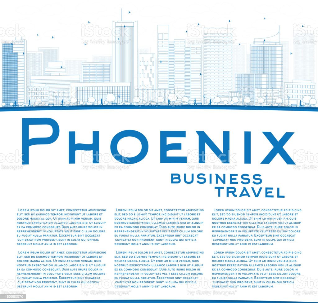 Outline Phoenix Skyline with Blue Buildings and copy space vector art illustration
