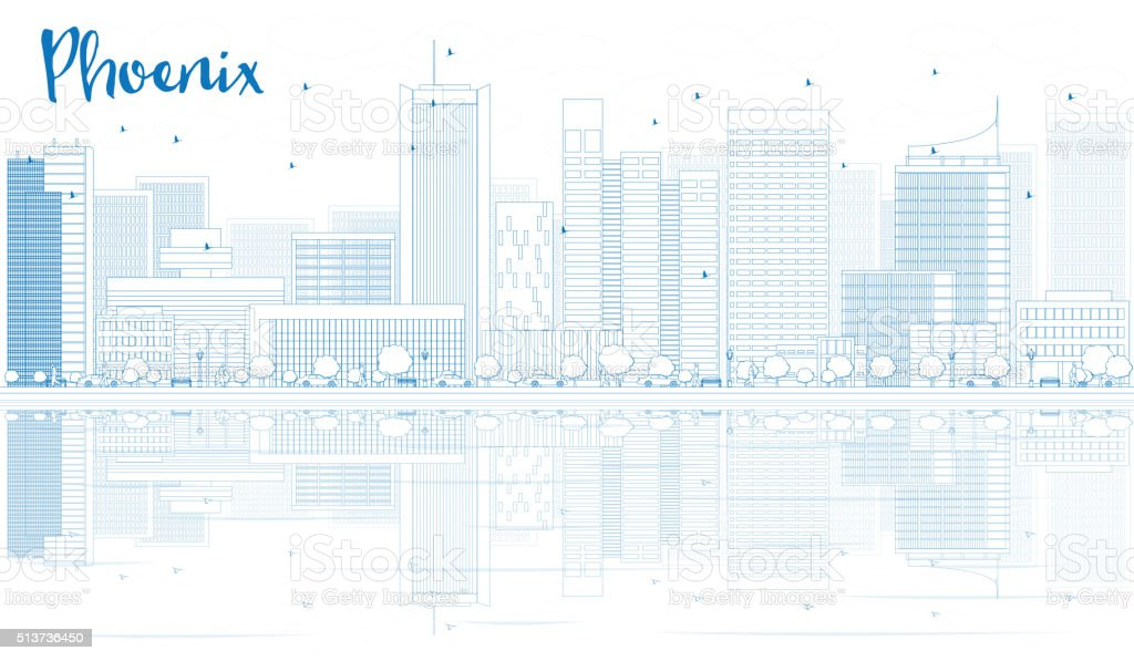 Outline Phoenix skyline with blue buildings and reflections. vector art illustration