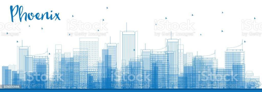 Outline Phoenix Skyline with Blue Buildings. vector art illustration