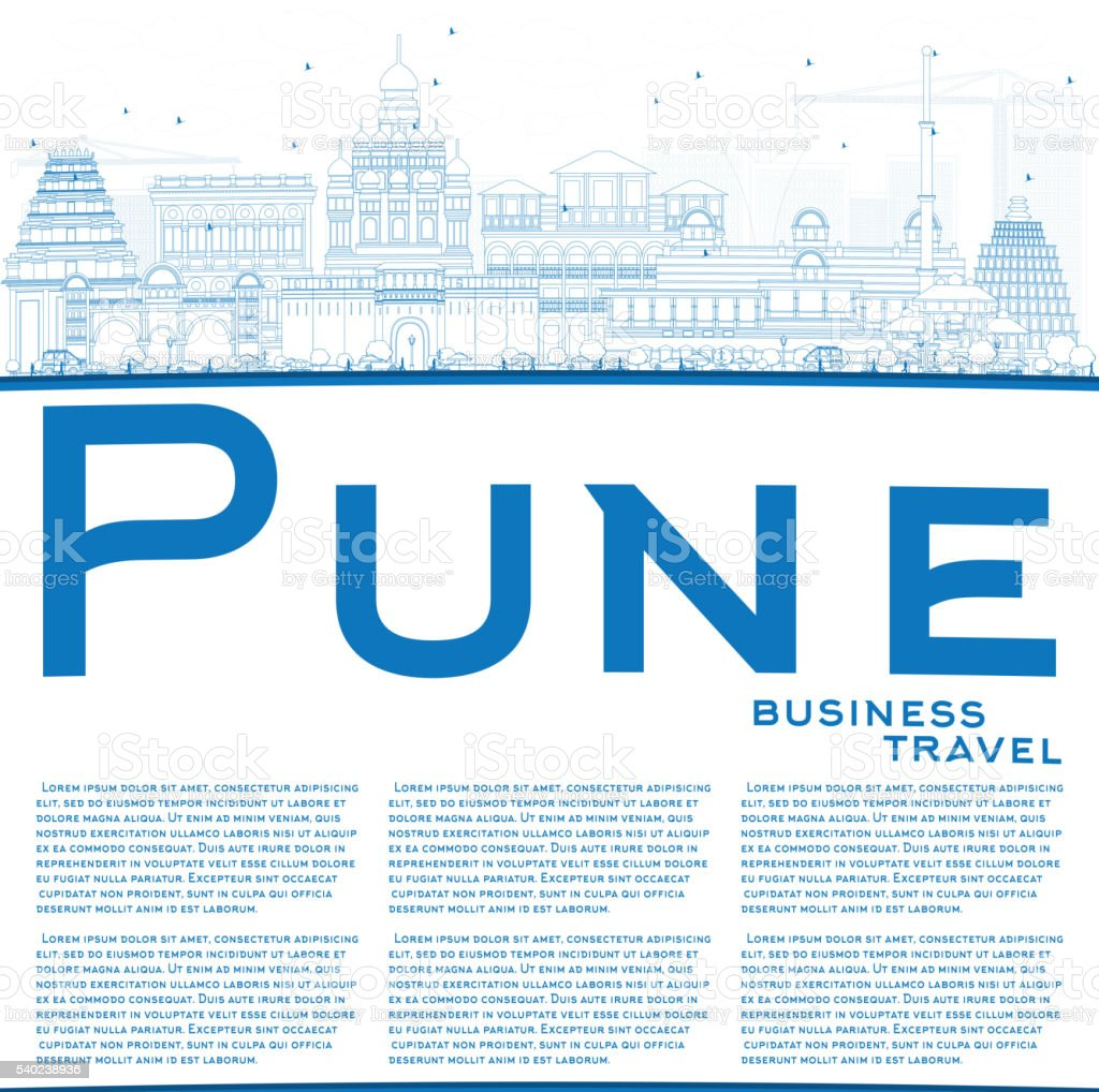 Outline Pune Skyline with Blue Buildings and Copy Space. vector art illustration
