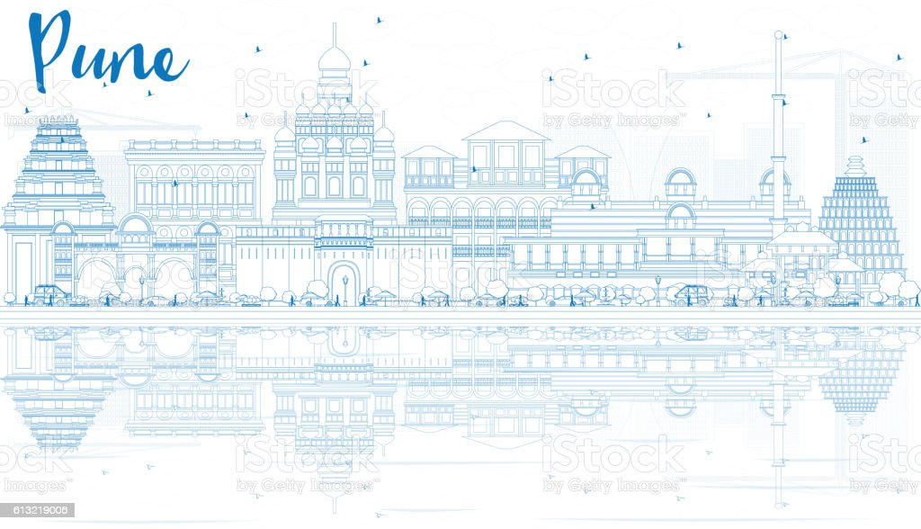 Outline Pune Skyline with Blue Buildings and Reflections. vector art illustration