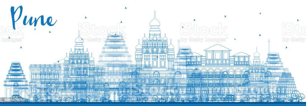 Outline Pune Skyline with Blue Buildings. vector art illustration