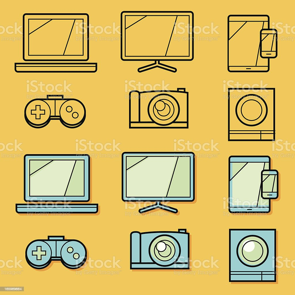 Outline retro media icons royalty-free stock vector art